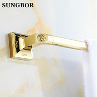 Free Shipping 60cm Single Towel Bar Towel Holder Solid Brass Made Golden Finish Bathroom Hardware Bathroom