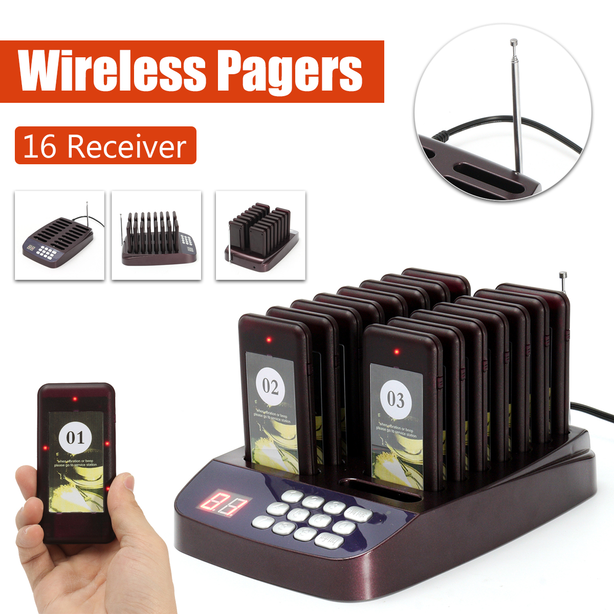 Restaurant Pager Buzzer Wireless Paging Queuing Calling System Transmitter with Coaster Pagers for Cafe Restaurant Equipments tivdio wireless restaurant pager guest paging queuing system 1 transmitter 20 chargeable pagers restaurants equipments f9401a