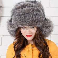 Women Plush Faux Fox Fur Stuffed Warm Winter Ear Warmer Hat NEW Outdoor Ski Hat High Quality Trapper Hats Winter  Russian Hat