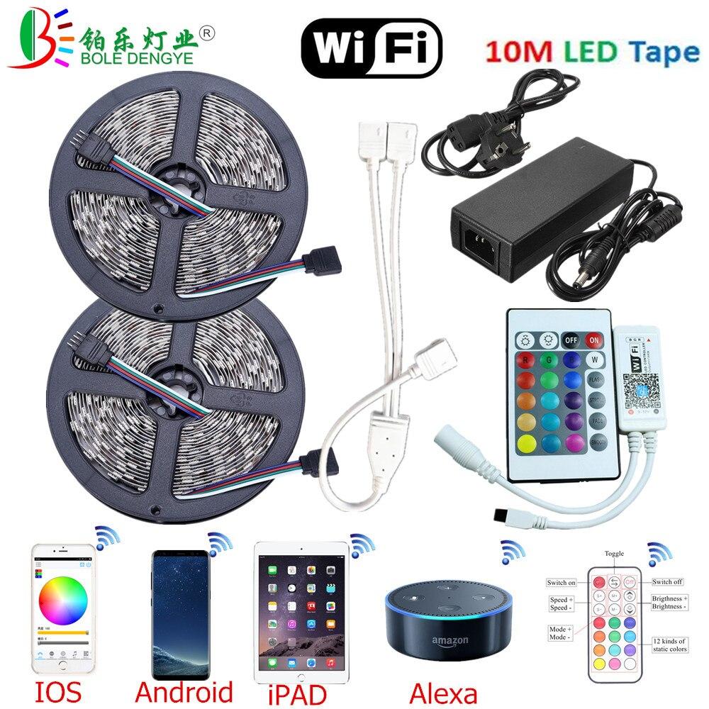HTB1upNZpL9TBuNjy0Fcq6zeiFXau 5M WiFi Bluetooth LED Strip DC 12V SMD 5050 Non waterproof Flexible RGB Tape Ribbon Light Works With Amazon Alexa Google Assist
