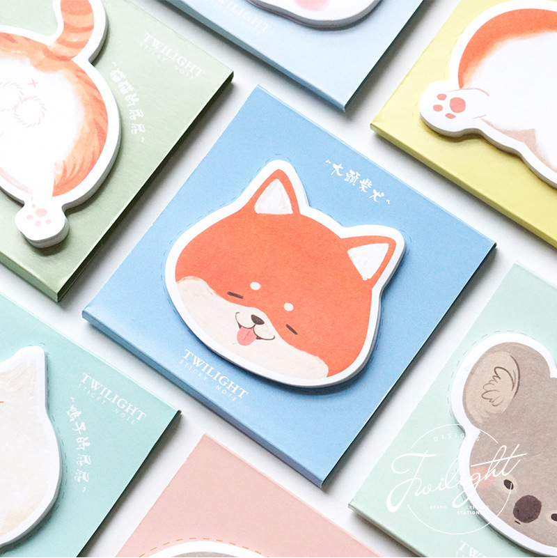 Cats Turning Back Hamster Big Headed Rabbit Memo Pad N Times Sticky Notes Escolar Papelaria School Supply Bookmark Label
