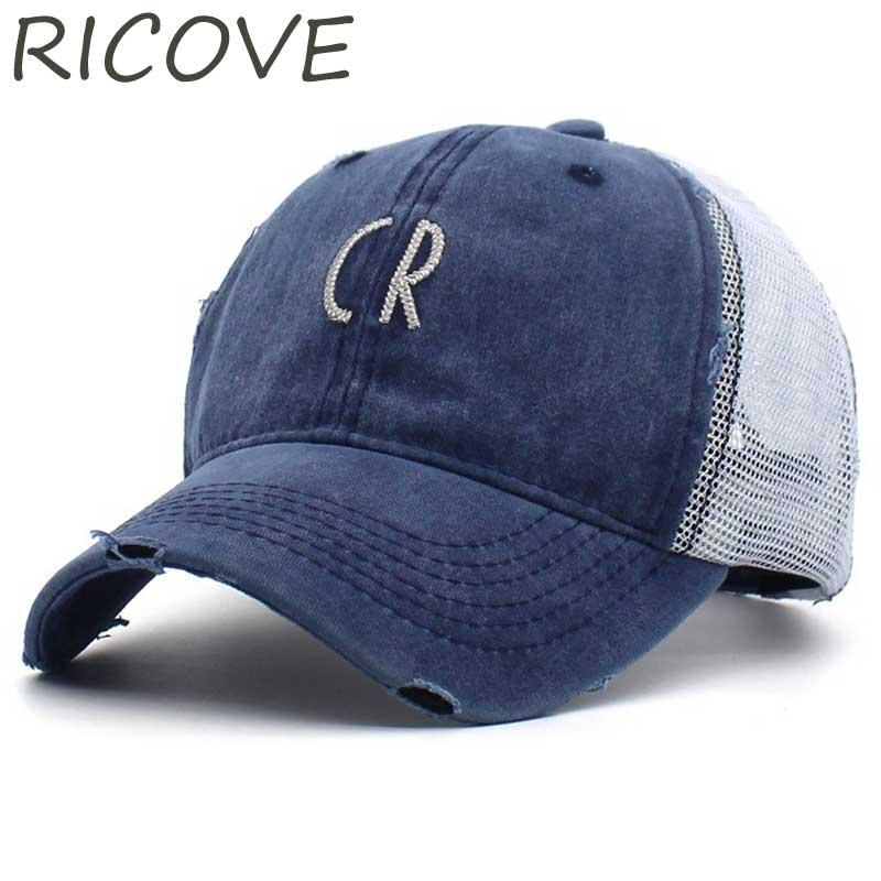 Mesh Baseball Cap Summer Hat For Women Men Fitted Caps Vintage Trucker Hat Fashion CR Embroidery Snapback Hip Hop Cap Adjustable