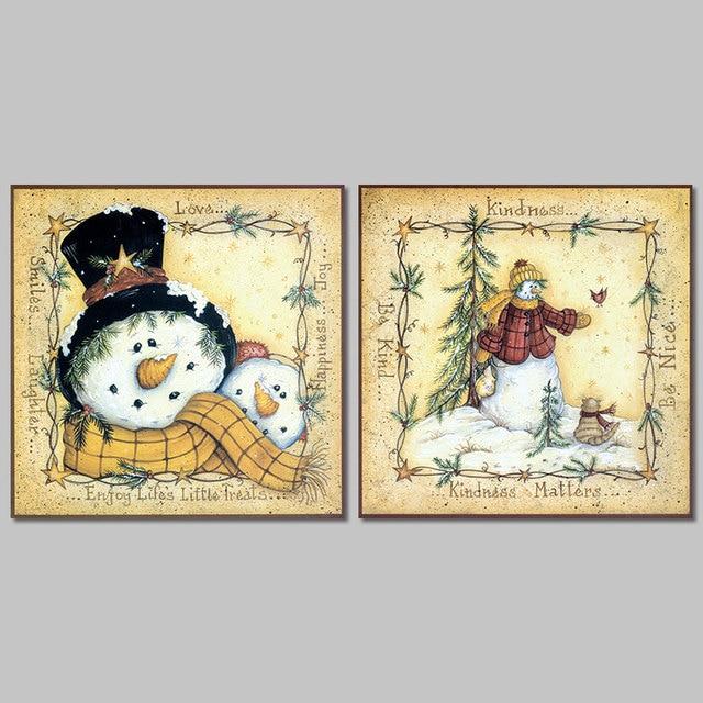 2pcs/set lovely snowman family Christmas decoration wall art ...
