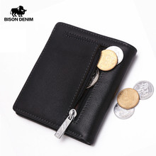 BISON DENIM Fashion Purse Men's Genuine Leather Wallet Quality Mini Wallet Male Card Holder Small Zipper Coin Purse W9317