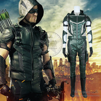 Green Arrow Oliver Queen Cosplay Costume Gloves Green Outfits Uniform Hoodies Halloween Party Pants Fast Shipping Fine Clothing