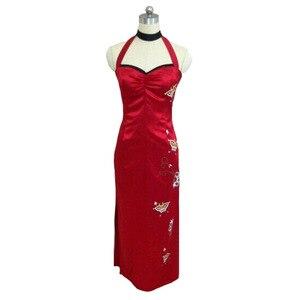 Женское платье Ципао с кобурой, длинное красное платье для выпускного вечера, костюм для косплея, 2019