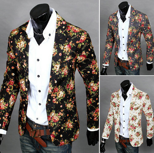 2015 Brand Mens Blazer Jacket Fashion Casual Sports Men Suit Flower Pattern Large Size Promotion - Foreign trade clothing 888 store