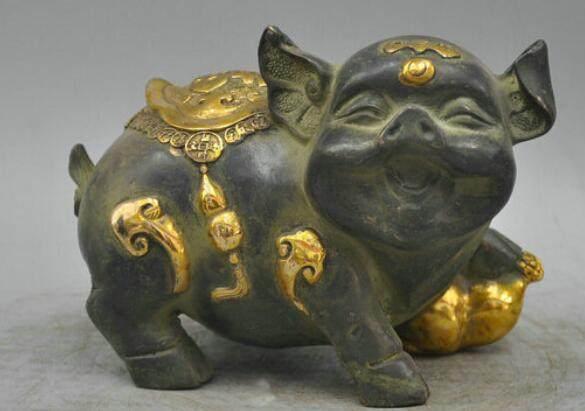 Online Shop 7 Bronze A Pair Lucky Golden Pig Symbol Good Luck
