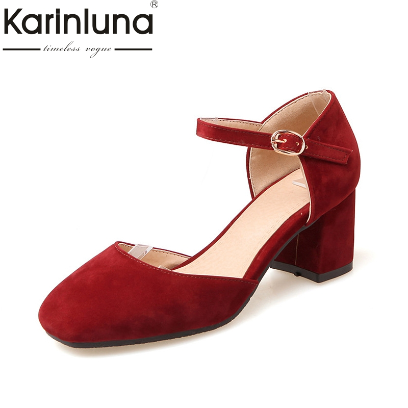 KarinLuna Women's Mary Jane Buckle Up Chunky Heel Summer Shoes Woman Nubuck Party Wedding Pumps Big Size 35-43 mary jane sterling u can algebra i for dummies