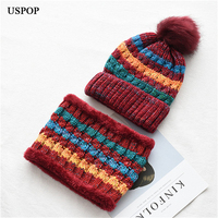 USPOP Fashion women winter hats scarf sets thick warm scarf skullies rochet 2 pieces casual striped velvet knitting beanies set