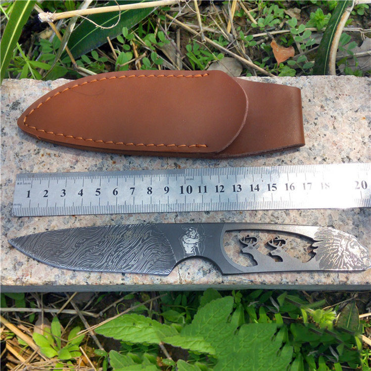Retro pattern Damascus steel blade Outdoor Camping font b knife b font Portable Survival font b