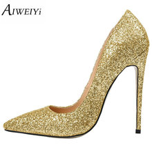 AIWEIYi Women High Heels Prom Wedding Shoes Ladies Gold Silver Glitter Rhinestone Bridal Shoes Stiletto High Heel Party Pumps(China)