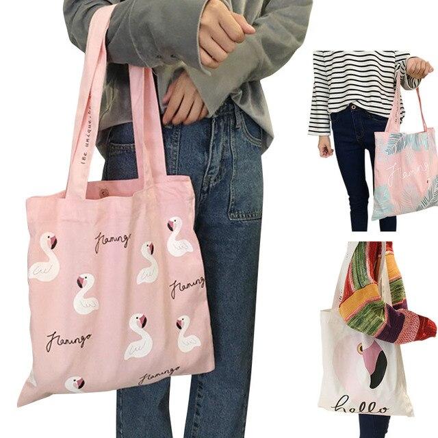 06d5807f5892 Новое поступление Для женщин мультфильм Фламинго печать Повседневное сумка  девушка Магнитная застежка сумки путешествия холст Сумки