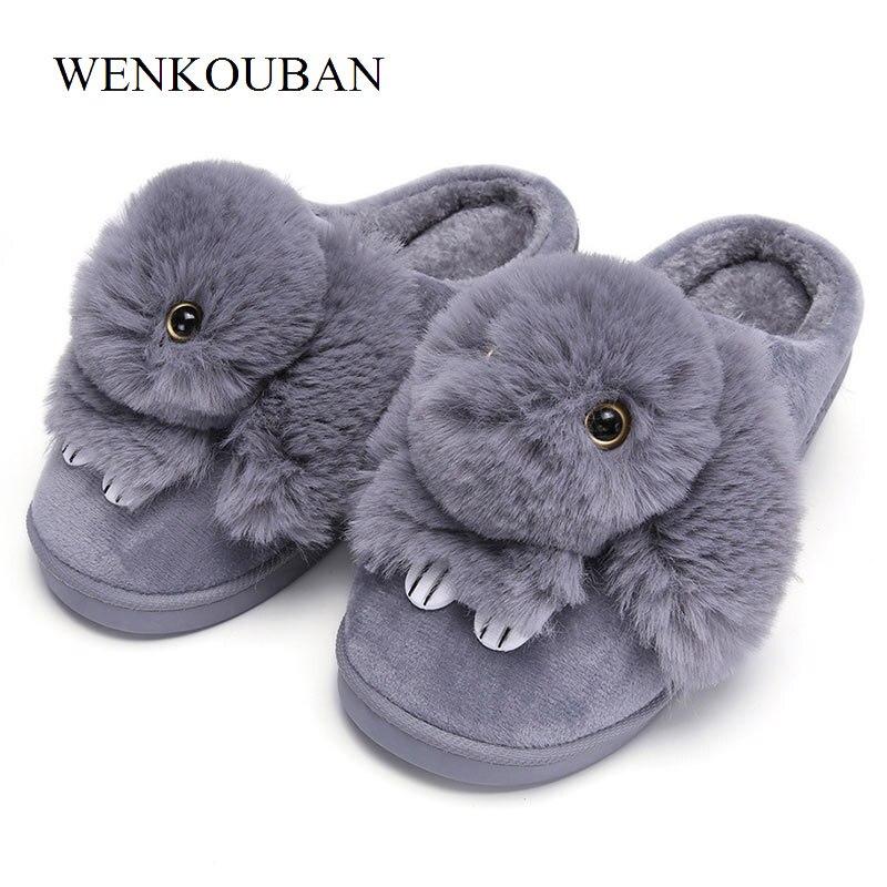 Mujeres Casa zapatillas de conejo lindo invierno zapatillas planas mujeres caliente de interior zapatos de mujer de piel de diapositivas para calzado de mujer tamaño 41