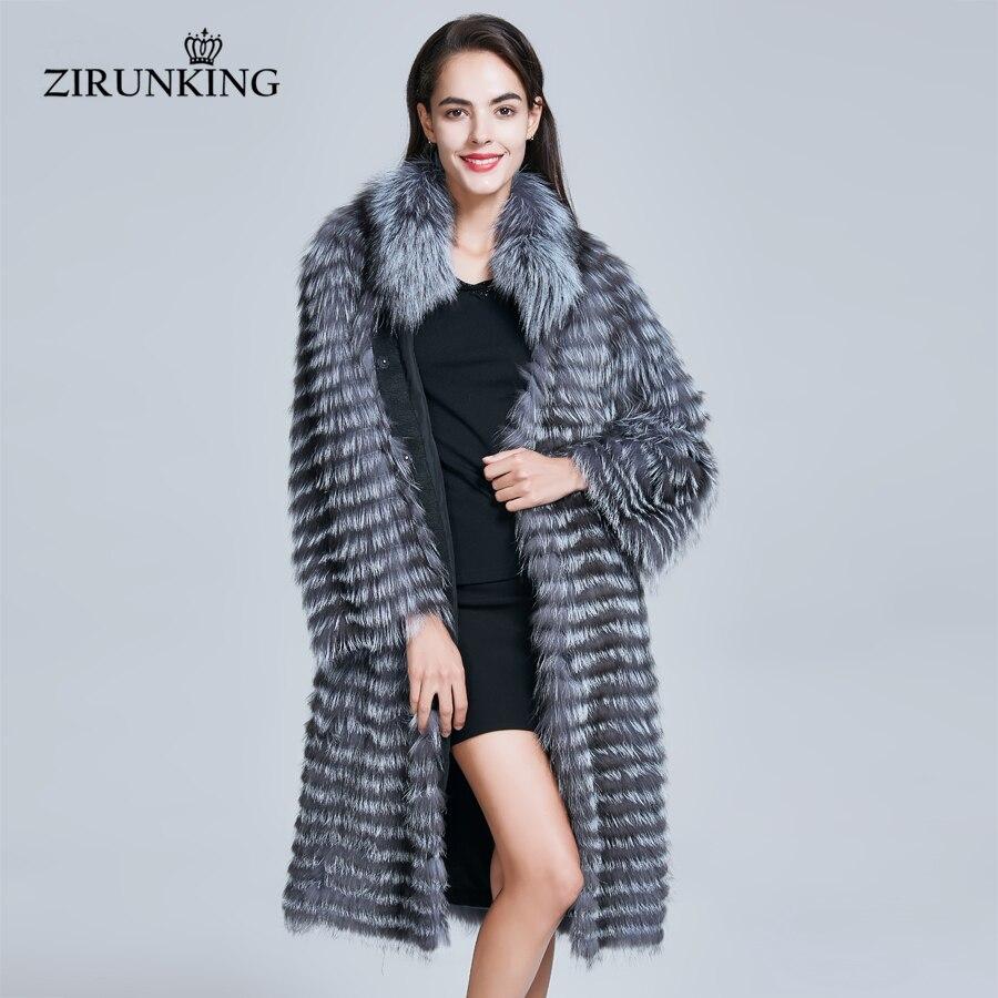 Abrigos de piel auténtica de mujer ZIRUNKING Real de piel de zorro de plata Natural Parkas abrigos de invierno cálido ropa de exterior femenina ZC1727