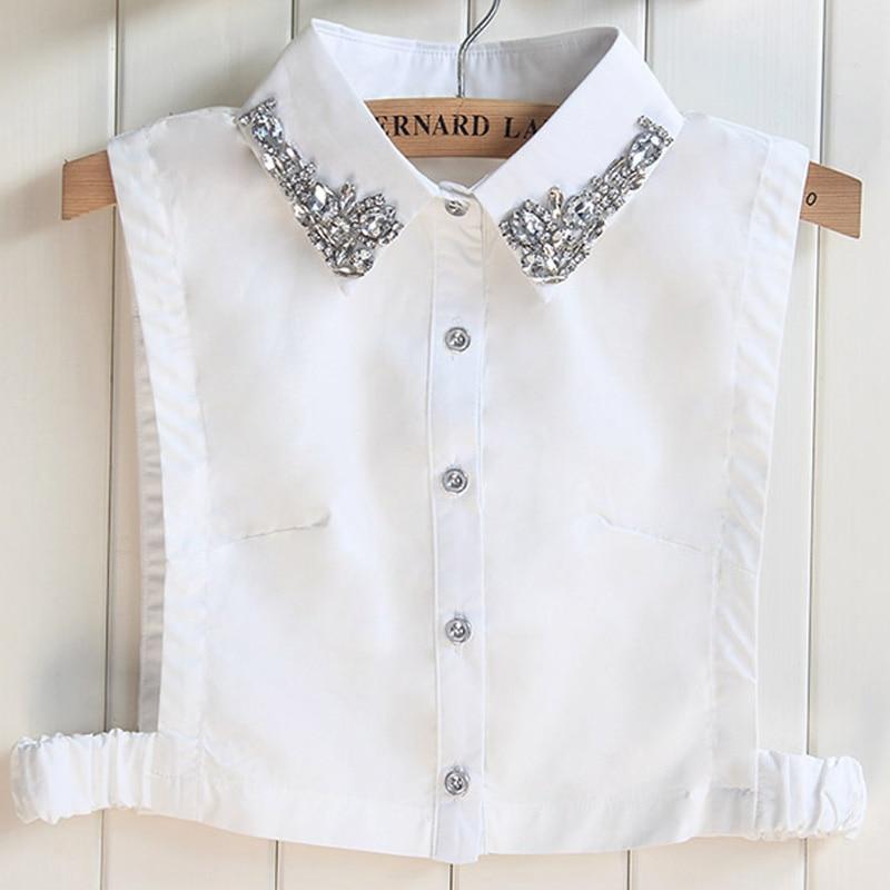 2017 Nyaste Bomull Fake Shirt Kvinnor Handgjord Pärla Winter Shredded Kvinna Halvbesparande avtagbar imitation diamantkristall