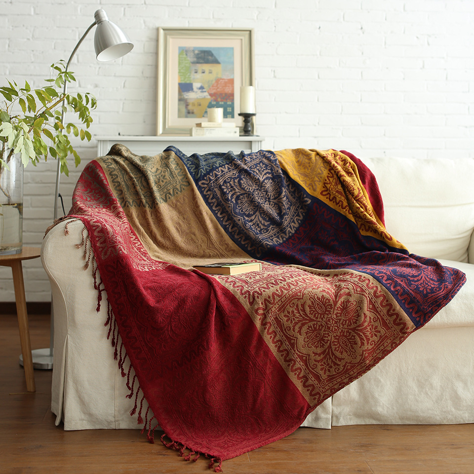 Chenille Sofa Blanket Bohemia Style Living Room Bedroom Multifunction Bedspread