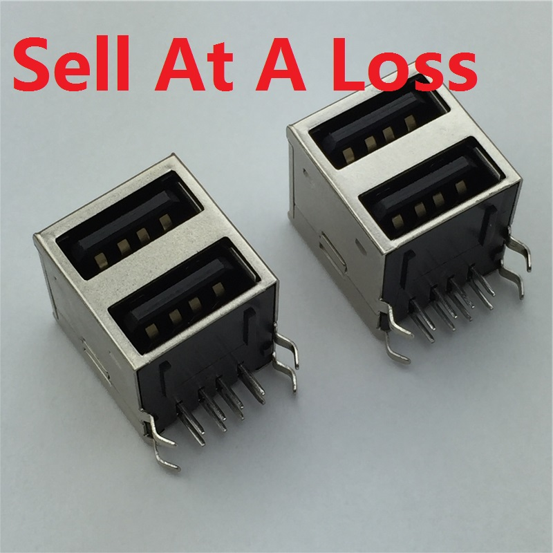 2pcs/lot USB A Type Female Socket Connector 2to1 Set G43 for Data Connection Interface Charging Free Shipping