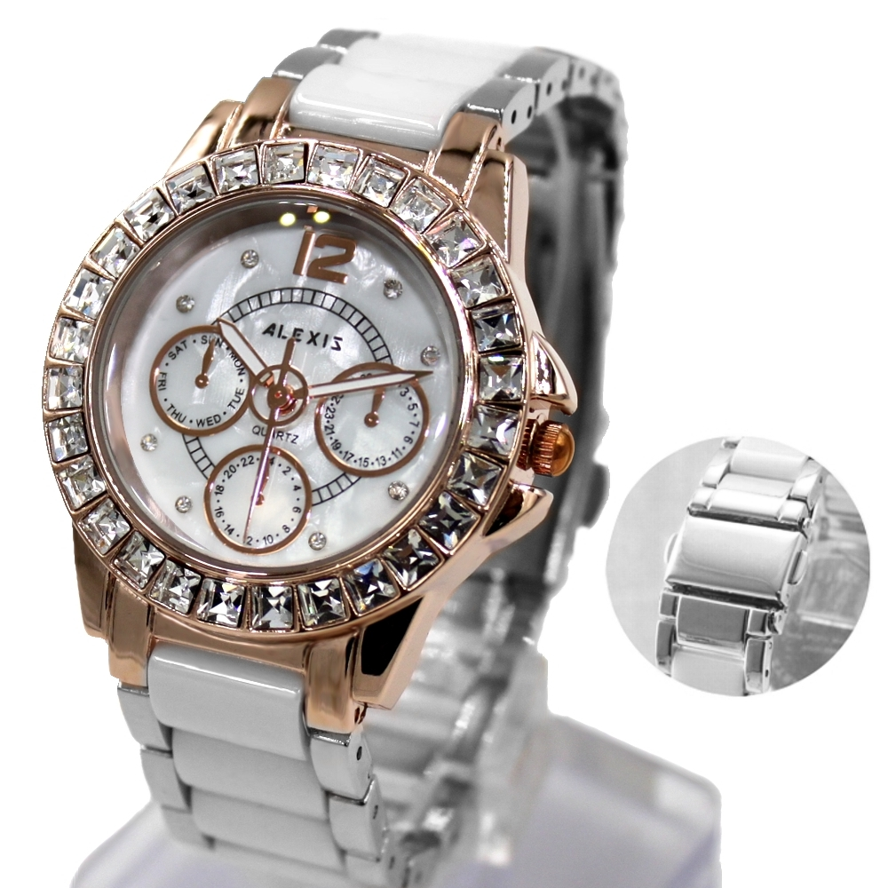 Alexis Women Fashion Analog Quartz Round Watch Japan PC21J Movement Shiny Silver Stainless Steel Band White Dial Water Resistant alexis brand silver white shell dial violet crystal ceramic water resistant bracelet watch women ladies watches horloge dames
