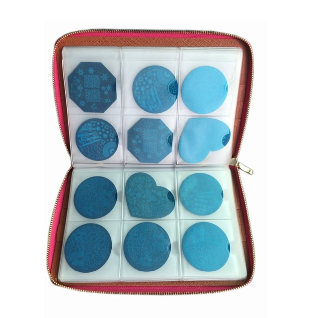 Nail Art 240 Slots Nail Stamp Plate Leather Folder/Holders/Cases Nail Template Album Round Plate Bag Collection Bag Stamper
