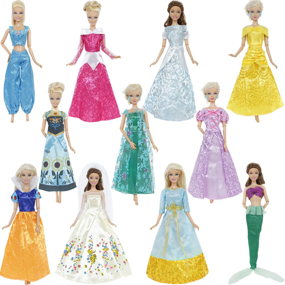 1 Set Fairy Tale Princess Dress Copy Snowwhite Cinderella Anna Wedding Party Gown Accessories Clothes For Barbie Doll Best Toys