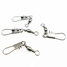 New 50pcs Stainless steel swivels interlock snap fishing lure tackles winter fishing gear accessories Connector copper swivel