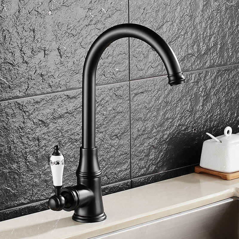 Free Shipping solid brass kitchen sink faucet with deck mounted single handle kitchen sink mixer tap of hot cold water tap  free shipping white paint kitchen faucet with solid brass kitchen sink faucet and hot cold kitchen sink water mixer taps