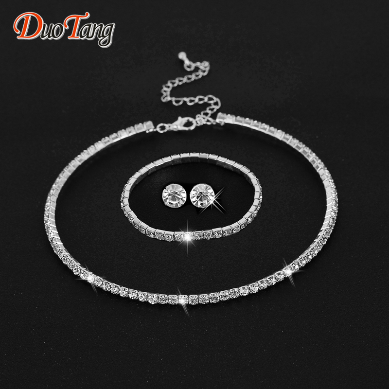 DuoTang Hot Selling Rhinestone Crystal Choker Necklace Earrings and  Bracelet Wedding Jewelry Sets Wedding Accessories T0035B1-in Jewelry Sets  from Jewelry ... d6a269cab1a7