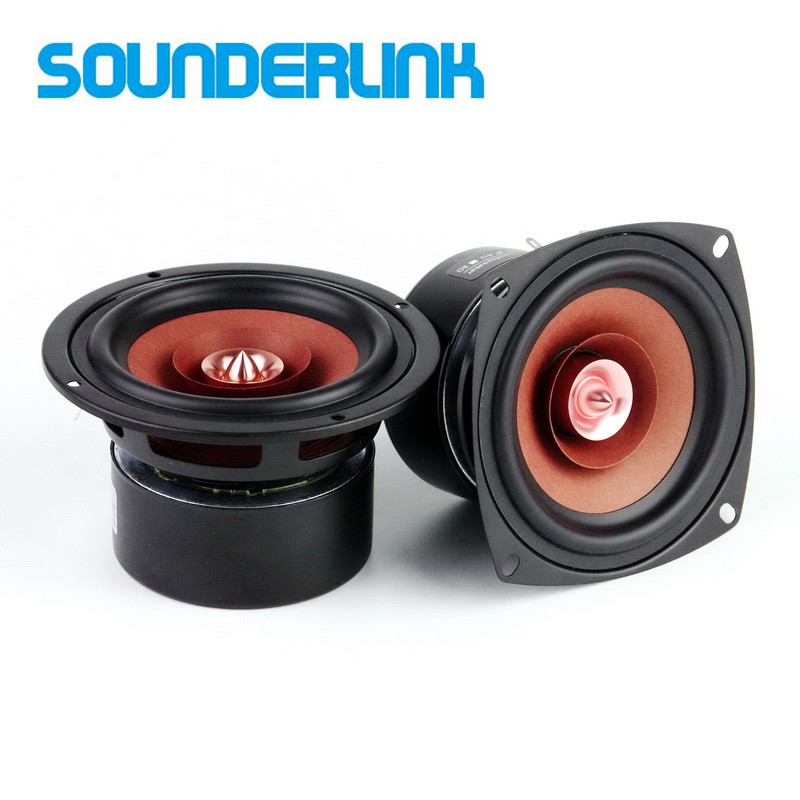 2pcs/lot Sounderlink Hi-Fi 4 inch Full Range monitor Bullet Speaker woofer tweeter with Aluminum 2 Layer kapton Cone new model audio labs top end 4 full range speaker unit sets aluminum bullet 2 layer paper cone for diy home theater