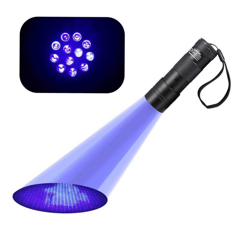 Купить с кэшбэком UV Flashlight 12 LEDs 395 nm UV Detector Light for Dog Cat Urine, Pet Stains, Bed Bugs, Scorpions, Machinery Leaks Inspection