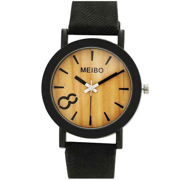 MEIBO women Quartz Watches Casual Wooden Color Leather Strap Wristwatch femininos Clock Gift BLACK meibo relojes quartz men watches casual wooden color leather strap watch wood male wristwatch relogio masculino watches women
