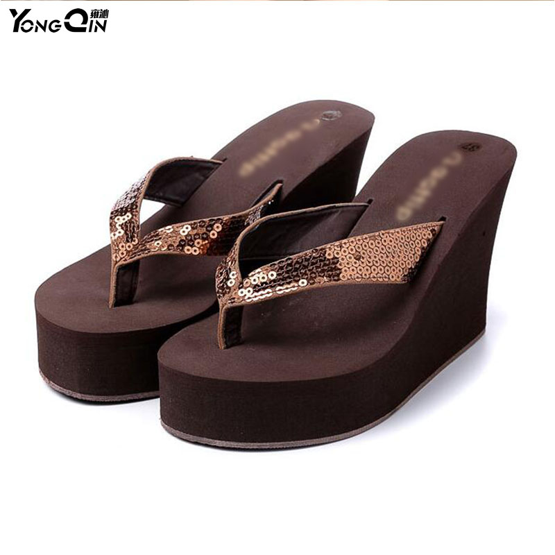 Fashion Women Shoes 2016  Comfortable Non-Slip Wedges Summer Sandals Slippers  Sequins Women Flip Flops Beach Sandals  Women