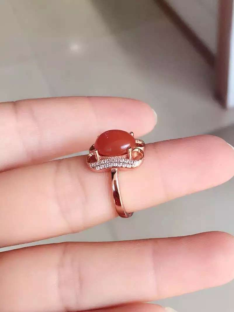 Natural south red agate Ring Natural gemstone Ring S925 sterling ...