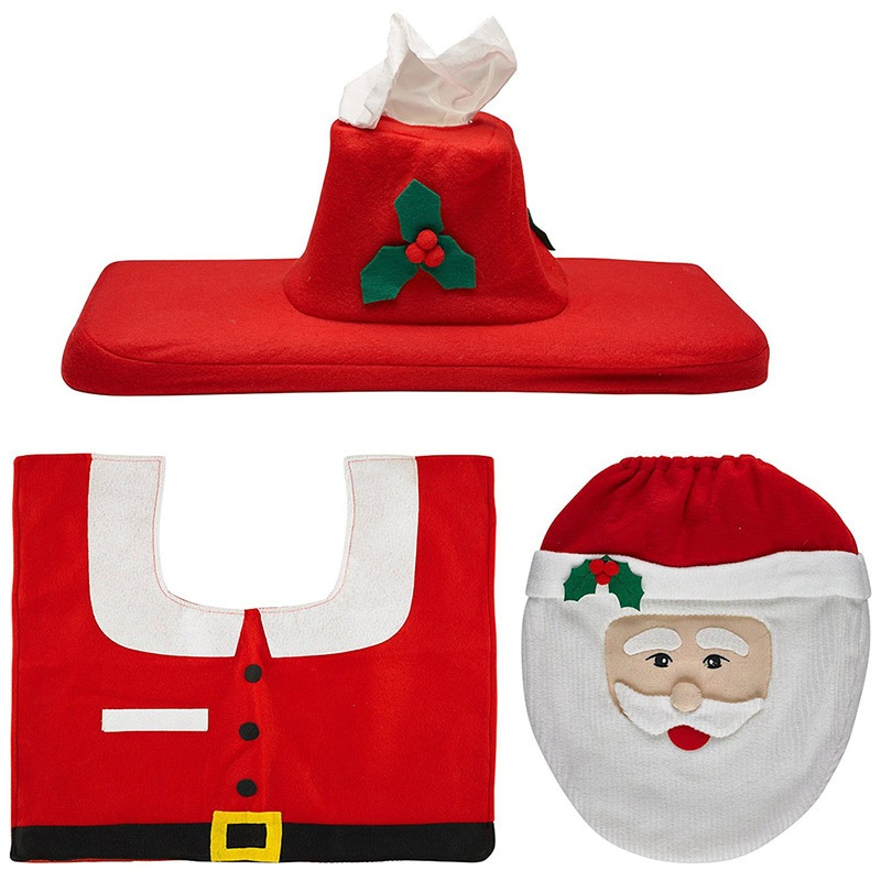 제한 판매 친환경 욕실 세트 빨간 산타 변기 커버 및 깔개 크리스마스 홈 장식 나탈 나비 다드 크리스마스 장식