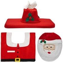 Limited Sale Eco-friendly Bathroom Set Red Santa Toilet Seat Cover And Rug Christmas Home Decorations Natal Navidad Xmas Decor