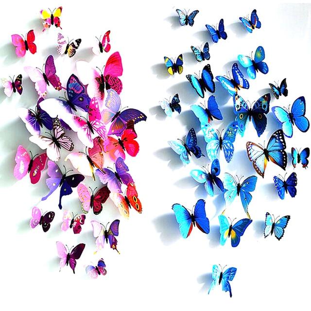 12pcs/set PVC 3D Butterfly Wall Decor Cute Butterflies Wall Stickers Art  Decals Home Decoration