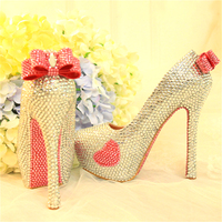 Womens Wedding Crystal Silver Shoes Pink Bow tie Sweet Prinsess Bridal Evening Party High Heel Round Toe Shoes Sexy Ladies Pumps