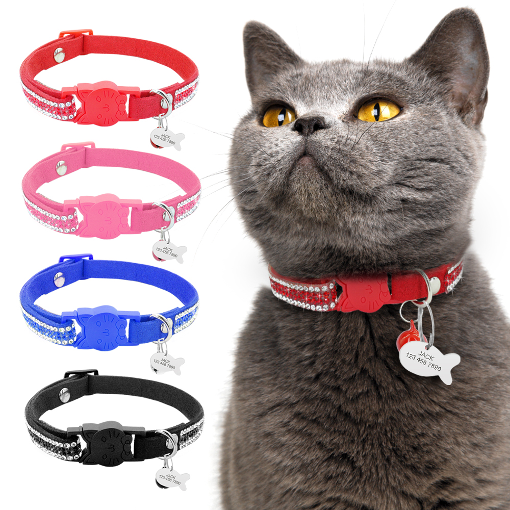 Kitten Cat Name Collar Quick Release Pet Cat Safety Collars With Bell Personalized Fish ID Tag Bling Rhinestone Cats Necklace image