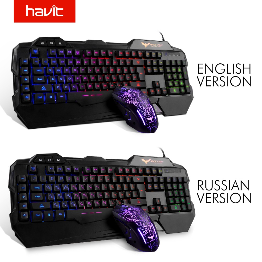 HAVIT Gökkuşağı LED Aydınlatmalı Kablolu Oyun Klavye ve Fare Combo (Siyah), ABD Düzeni, Kit PC Masaüstü Laptop için Gamer teclado