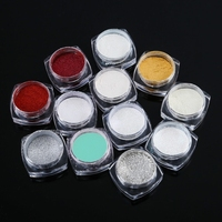 Fashion 12 Color Magic Mirror Chrome Effect Nails Powder Set Liquid 3D Decoration Builder Nail Glitter