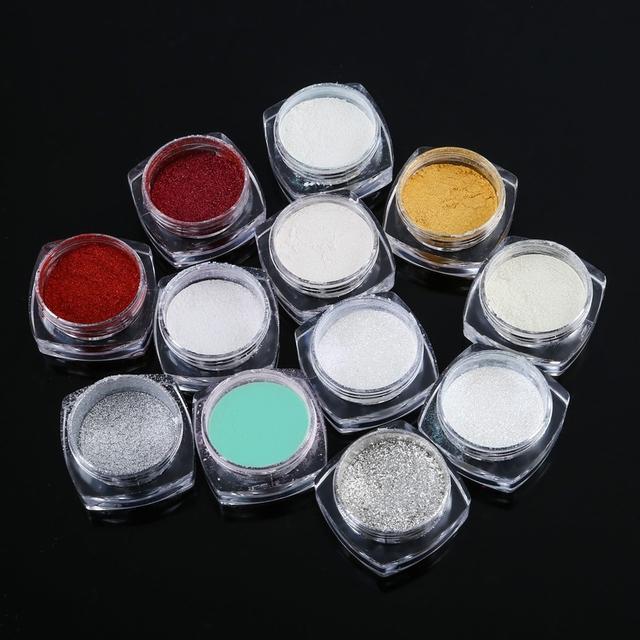 Moda 12 Color Magic Mirror Chrome Efecto Conjunto Polvo Líquido 3D Decoración de Uñas Constructor de Uñas Glitter Powder Set Shinning