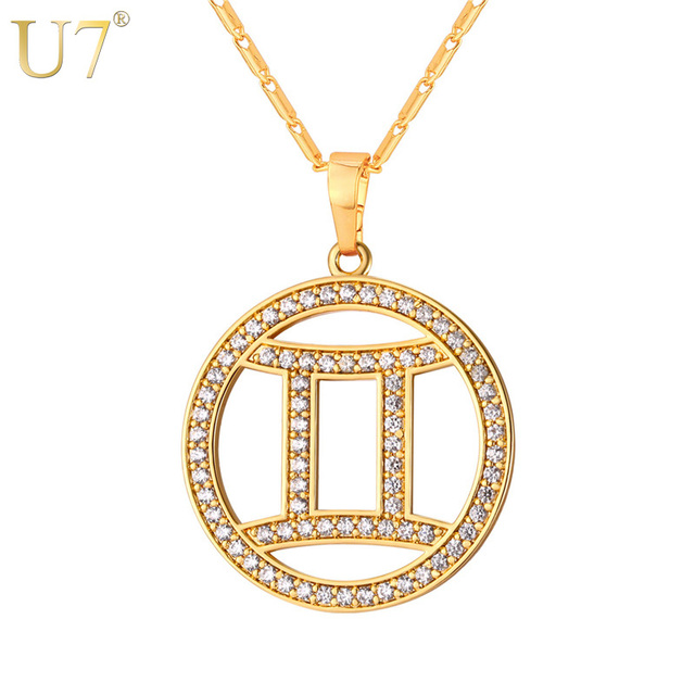 U7 Gemini Zodiac Necklaces Pendants Gold Silver Color Cubic Zirconia Constellations Jewelry Men Women Birthday Gift P1074
