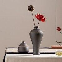 Ceramics Classical Small Vase Flower Arrangement Living Room Table Tea Ceremony Decorations Retro Black Pottery