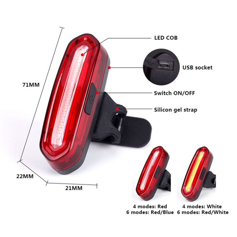 New Rechargeable LED USB Mountain Bike Tail Light Taillight MTB Safety Warning Bicycle Rear Light Bicycle Lamp