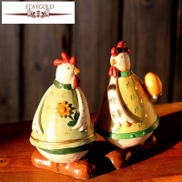 Zakka Style Resin Handicraft Painted Ornaments Village Style Couple Of Chicken