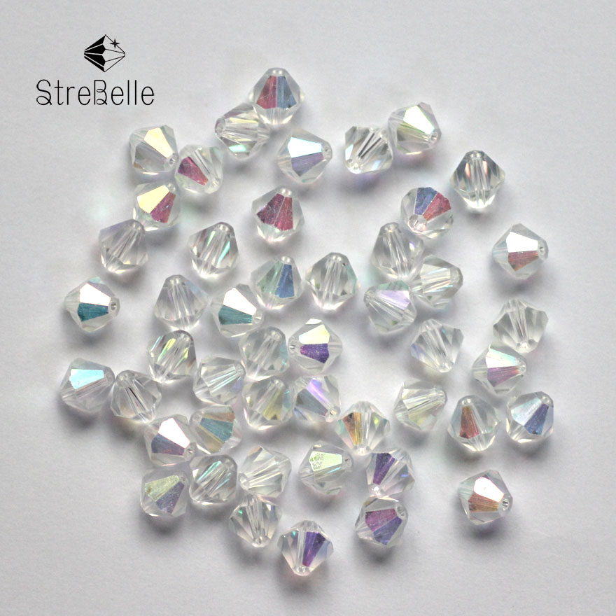 AB Color Bicone Beads 5328/5301 100PCS/LOT 6mm Czech Loose Crystal Beads / Glass Beads for DIY Jewelry Necklace Bracelets Making