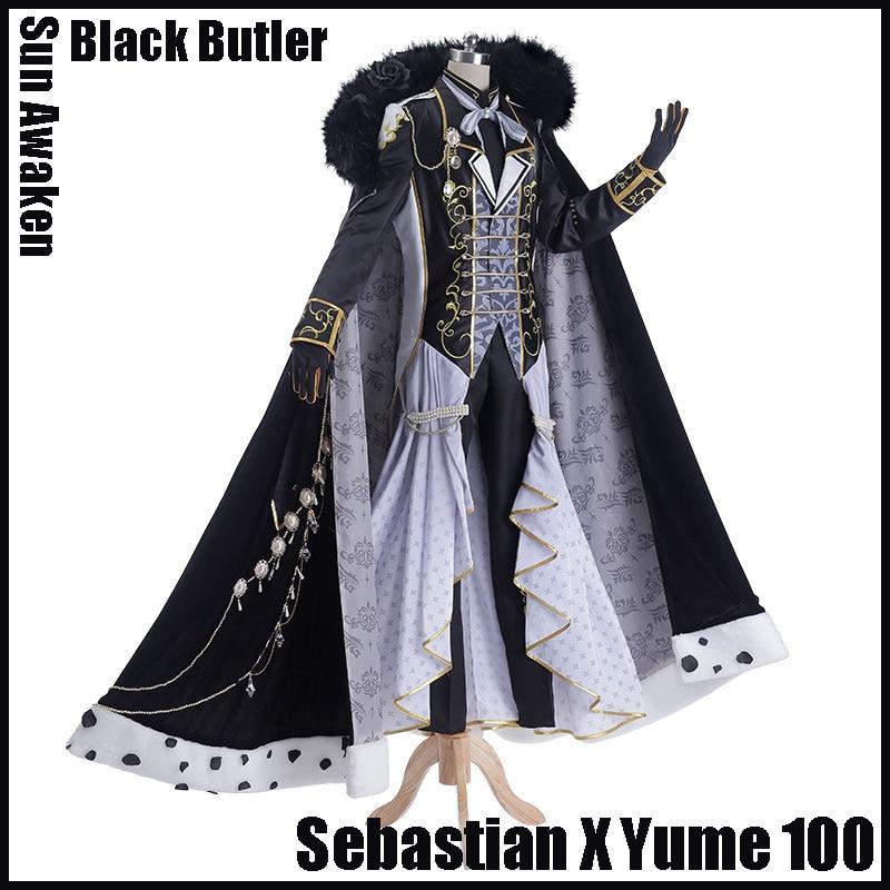 [Stock] Nuevo 2017 Anime Black Butler Combine con Yume 100 Sebastian - Disfraces