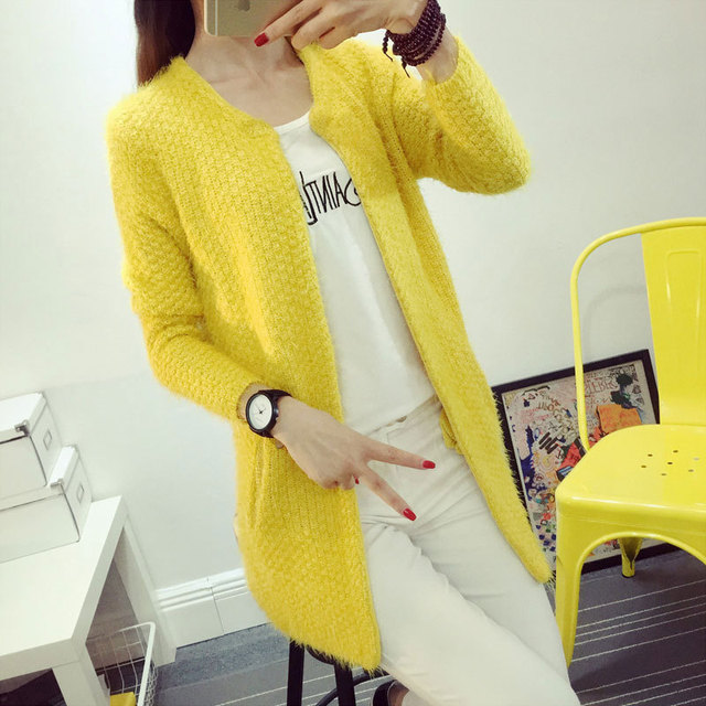 2017 Fashion Women Mohair Sweater Cardigan Long Sleeve Long Knitted Cardigans Ladies Soft Open Stitch Sweaters Coat M1024C