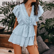 Affogatoo Elegant v-neck ruffle blue rompers women Sexy high waist chiffon summer jumpsuits female Casual ladies short playsuits(China)