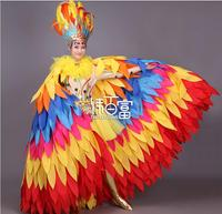 Limited new luxury Stage clothes for singers Opening dance Feather headdress dance dress